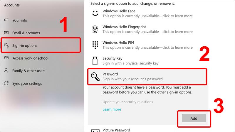 cách đặt mật khẩu máy tính bước 2