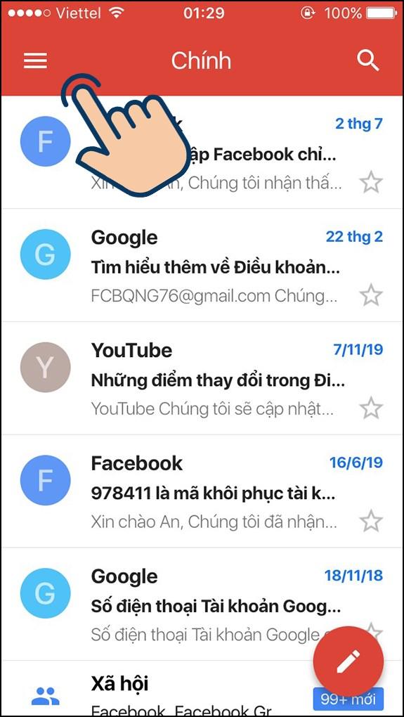 cách đổi tên gmail bước 1