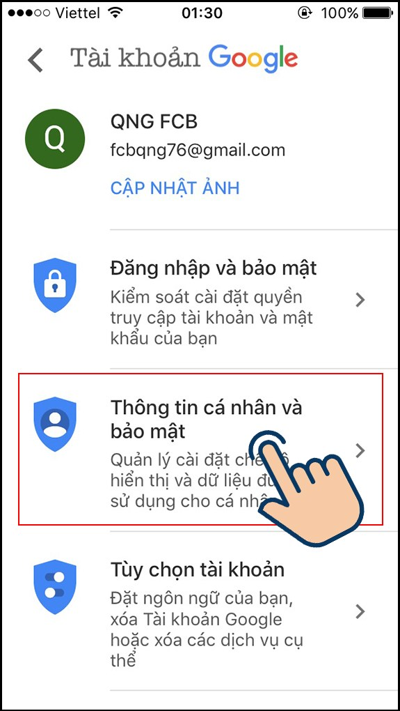 đổi tên gmail bước 5