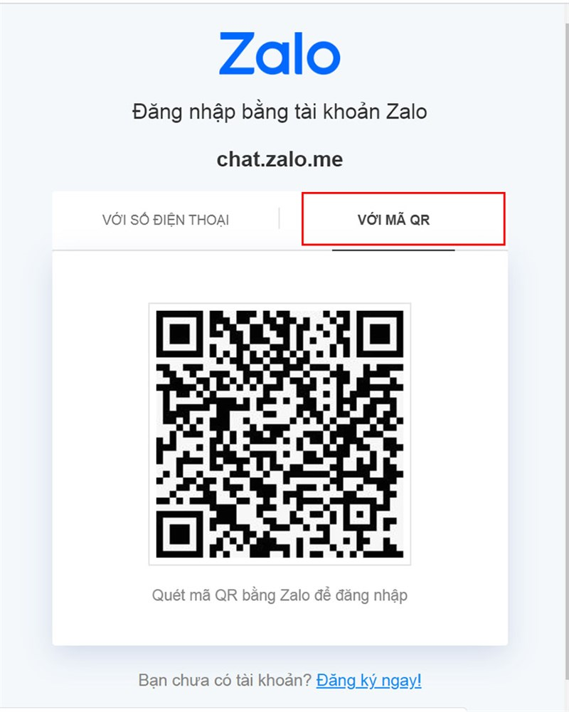 đăng nhập Zalo bằng mã QR bước 1
