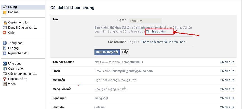 cách đổi tên facebook bước 2