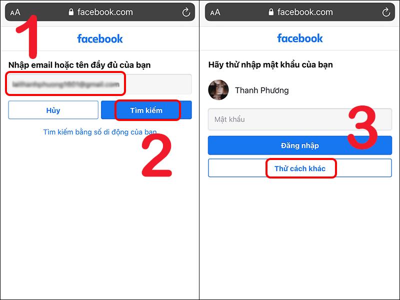 cách lấy lại mật khẩu facebook bước 3