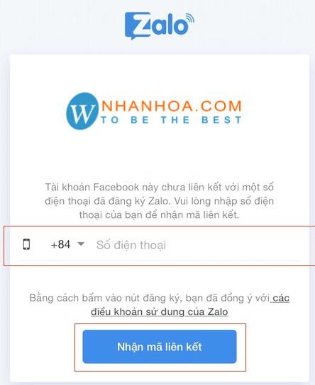 Nếu số điện thoại đăng nhập của facebook và Zalo trùng khớp thì bạn có thể đăng nhập thành công. Nếu không trùng số điện thoại bạn cần thực hiện tiếp các bước sau. Bước 5: Nhập SĐT để nhận mã liên kết Nếu không thể đăng nhập Zalo bằng facebook thành công thì đó là do bạn chưa liên kết hai tài khoản này với nhau. Tại bước này bạn cần nhập số điện thoại để nhận mã liên kết. Mã này giúp bạn kết nối tài khoản Zalo với Facebook. Chỉ khi được kết nối thành công thì bạn mới có thể đăng nhập Zalo bằng Facebook