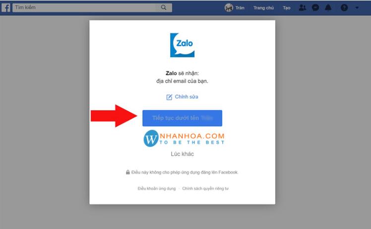 đăng nhập zalo bằng facebook bước 4